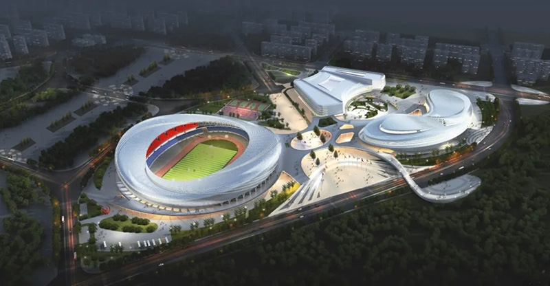 唐山新体育中心项目屋顶主桁架全部吊装完成