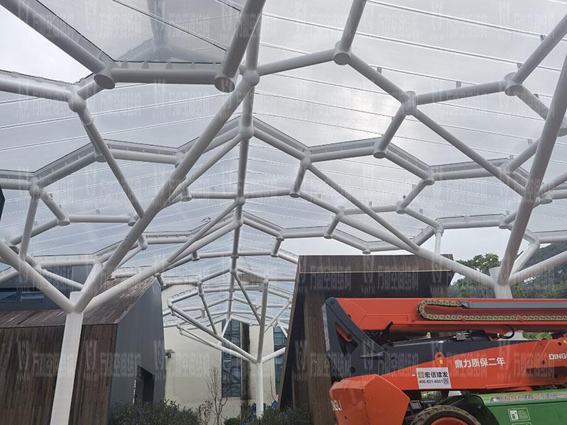乐清铁定溜溜乐园ETFE天幕及PTFE景观伞膜结构工程竣工