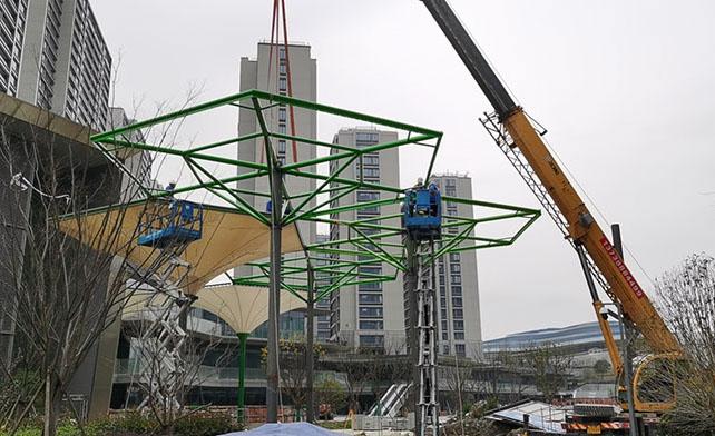 五乡地铁站伞状PTFE膜结构工程