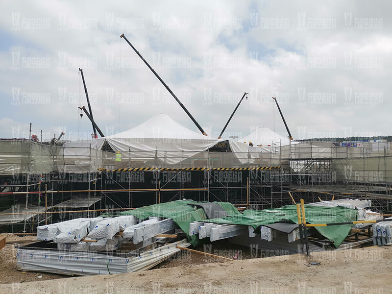 南京园博园穹盖式膜结构棚项目吊装视频