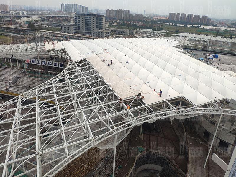 杭州亚运会棒(垒)球体育文化中心膜结构项目膜结构安装中