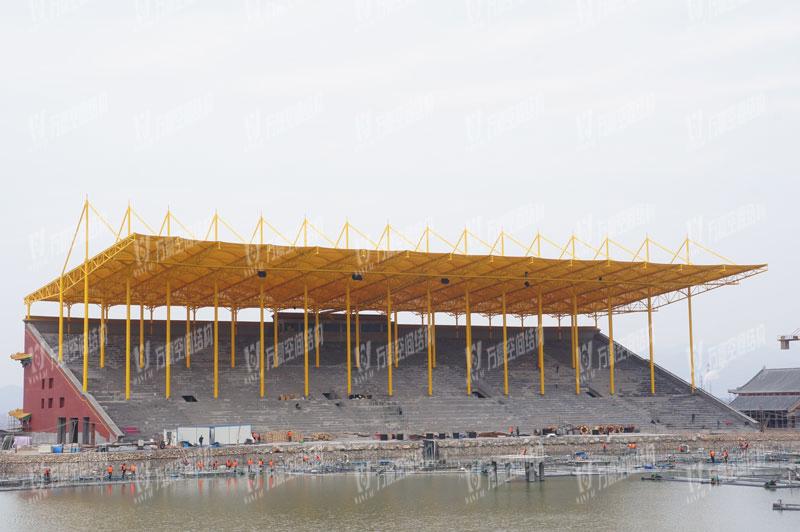 横店圆明新园花仙湖看台膜结构项目